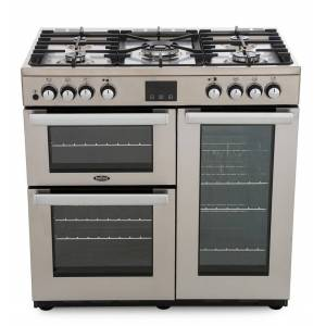 Belling Cookcentre 90DFT Professional Stainless Steel 90cm Dual Fuel Range Cooker - A Rated - 444444069