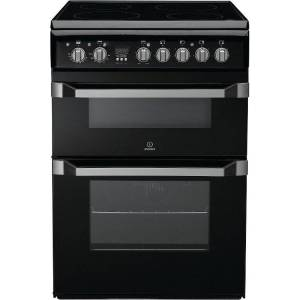 Indesit ID60C2K S Ceramic Electric Cooker with Double Oven - Black