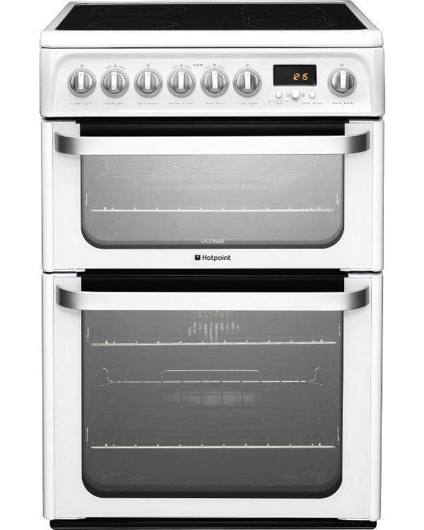 Hotpoint HUE62PS Ceramic Electric Cooker with Double Oven - White