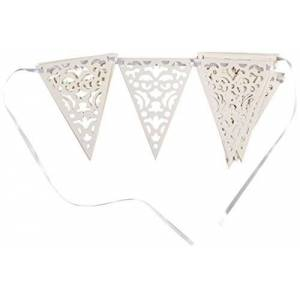Unique Party 61683 61683-12ft Paper Lace Wedding Bunting Flags