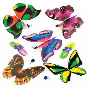 Baker Ross P1071 Beautiful Butterfly Flying Gliders, for Kids Toys, Party Bag Fillers, Games and Prizes, Assorted, (Pack of 6)