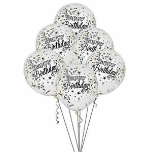 Unique Party 58285 - Foil Silver Glittering Birthday Confetti Balloons, Pack of 6