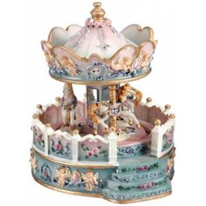 Musicbox World 14111 Angel Carousel with Porch Playing a Well Known Melody