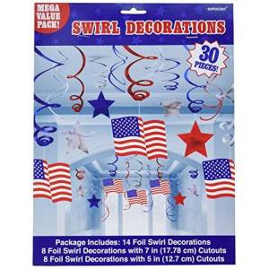 """amscan 679440 Party Supplies USA Hanging Swirl Decorations Value Pack-30 Pcs, Multi Color, 24"""""""