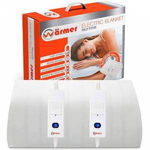 Warmer Wrmer Super King Electric Blanket, 203 X 182cm, Fully Fitted Mattress Cover with 3 Heat Settings, 2 X Detachable Controllers and Machine Washable