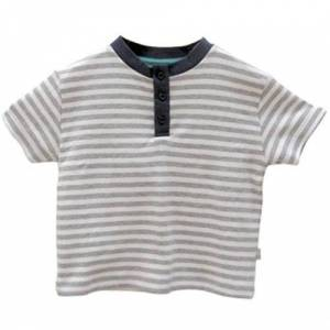 Ps02gw6y Little Green Radicals organic Fairtrade cotton Henley top Playsuit (Dove Grey and White Stripe, 5-6 Years)