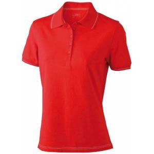 James & Nicholson Women's Funktionspolo Elastic Maternity Polo Shirt, Red (red/White), (Size: Large)