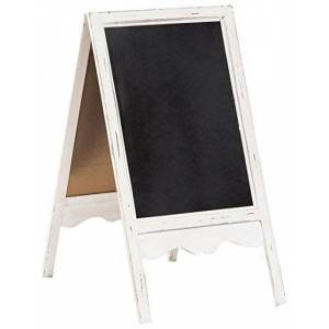 Biscottini Bi-Faced Earth Easel - Advertising Display with Wooden Frame in Antique White Finish for Outdoor and Indoor - L 50 x D 6 x H 95 cm