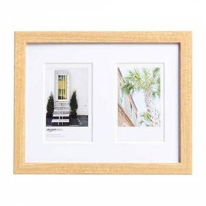 AmazonBasics Photo Frame for use with Instax - 2-Opening - 8 x 5 cm, Natural