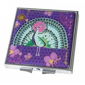 Decodelire M24 Peacock Glass/Metal Pocket Mirror 6 cm x 6 cm x 1 cm Purple/Green