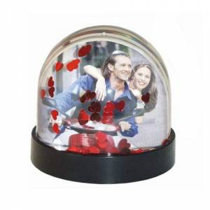 Dorr Snow Globe with Hearts Photo Frame - Red