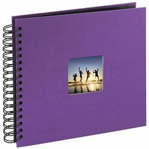 Hama Spiral Photo Album Fine Art 28 x 24cm 50 Puple w/Black Pages, Purple