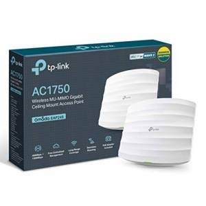 TP-Link AC1750 Wi-Fi Dual Band Gigabit Ceiling Mount Access Point, MU-MIMO, Support 802.3af/at/Passive PoE, Easily Mount to Wall or Ceiling, Free EAP Controller Software (EAP245), White