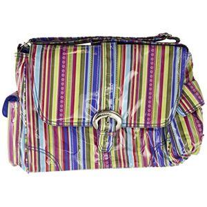 Style 2960 Kalencom Fashion Diaper Bag, Changing Bag, Nappy Bag, Mommy Bag, Laminated Buckle Bag (Cobalt Stripes)