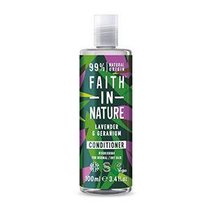 Faith In Nature 100ml Travel Size Lavender & Geranium Conditioner, Nourishing, Vegan & Cruelty Free, No SLS or Parabens, Normal to Dry Hair