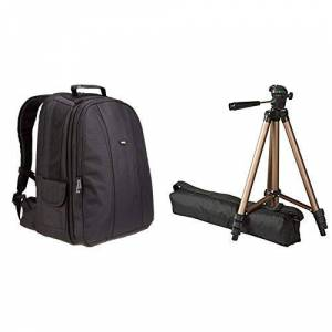 "AmazonBasics Amazon Basics DSLR and Laptop Backpack with Grey Interior & 127cm (50"") Lightweight Tripod with Bag"