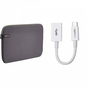 Amazon Basics 13.3-Inch Laptop Sleeve - Grey & USB Type-C to USB 3.1 Gen1 Female Adapter - White