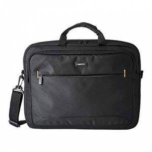 Amazon Basics Compact Laptop Shoulder Bag Carrying case with Accessory Storage Pockets (17.3 inch - 44 cm), Black, 1-Pack