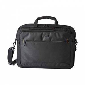 Amazon Basics Compact Laptop Shoulder Bag Carrying case with Accessory Storage Pockets (15.6 inch - 40 cm), Black, 1-Pack