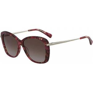 Longchamp LO616S, Acetate Sunglasses Marble Brown Red Unisex Adult, Multicolor, Standard
