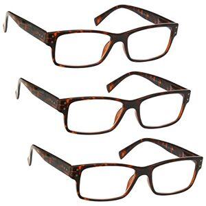 The Reading Glasses Company UV Reader Brown Tortoiseshell Reading Glasses Value 3 Pack Mens Womens Spring Hinges UVR3PK012 +1.50