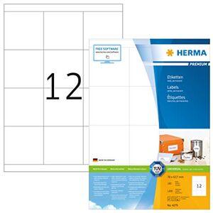 HERMA Self Adhesive Multi-Purpose Labels, 12 Labels Per A4 Sheet, 1200 Labels For Laser And Inkjet Printers, 70 x 67.7 mm (4279)