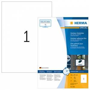 HERMA Stretchable Self Adhesive Weatherproof Foil Labels, 1 Label Per A4 Sheet, 50 Labels For Laser Printers, 210 x 420 mm (9501), White