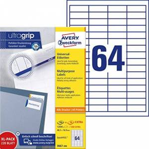Avery Zweckform 3667-200 Universal Labels 48.5x16.9 mm White for Inkjet Laser Copy