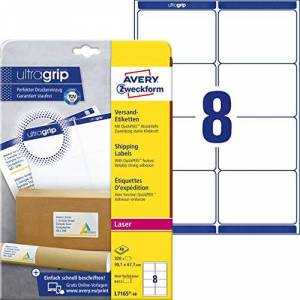 Avery L7165 Self Adhesive Parcel Shipping Labels, Laser Printers, 8 Labels Per A4 Sheet, 320 Labels, UltraGrip, White