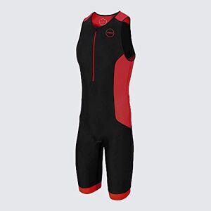 ZONE3 Men's Aquaflo Plus Trisuit, Black/Grey/Red, XL