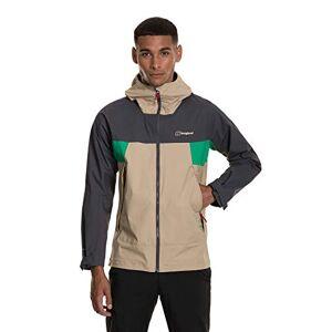 Berghaus Men's Sky Hiker Waterproof Shell Jacket, Cornstalk/Grey Pinstrpe/Bright Green, X-Small