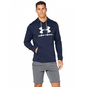 Under Armour Men's Sportstyle Terry Logo Hoodie Warm-up Top, Academy / / White (408), SM