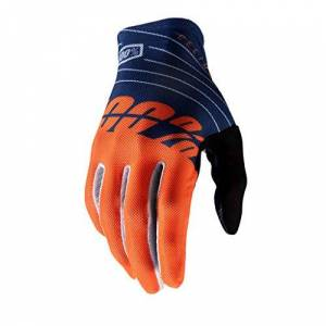 100% Unisex's CELIUM Gloves, Navy/Orange, X-Large