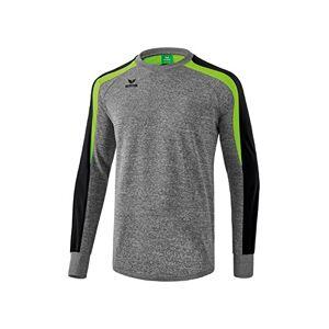 Erima Men's Liga Line 2.0 Sweatshirt - Grey Marl/Black/Green Gecko, Small