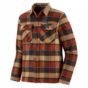 Patagonia Men's M's Insulated Fjord Flannel Jkt Jacket, plots/Burnished red, M