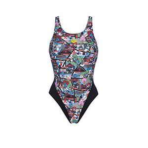Arena W Swim Tech Back One Piece Swimsuit Sports Women Kun Map, womens, 002824, Black-multi-coloured, 10
