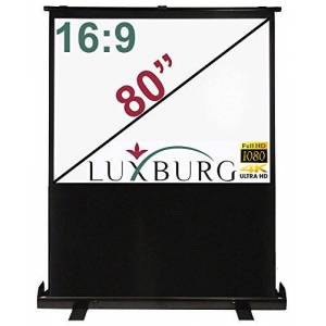 """LUXBURG 60"""" to 100"""" 4:3 and 16:9 Full HD 3D Portable Freestanding Floor Pull-up Projector Projection Screen - Matt White Screen. With carry case! (80"""" 16:9-177x100cm, Matt White)"""