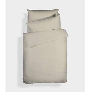 Bianca Plain Dyed Percale Duvet Cover + Pillowcase Bed 105 cm, 100% Cotton, Natural, 180 x 220 + 50 x 125 cm, 2