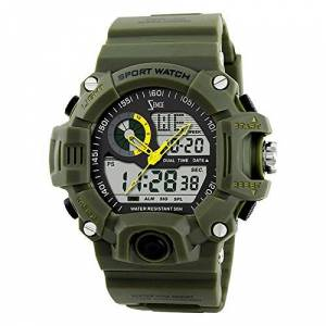 ZEMGE Mens Watch Analogue Digital 50M Waterproof Military Sport Big Face Dual Dial Business Casual Multifunction LCD Back Light Electronic Wrist Watches Shock Resistant Wristwatch ZS1022