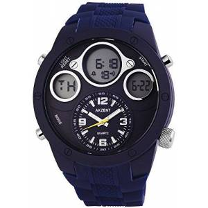 Akzent Mens Analogue-Digital Quartz Watch with Silicone Strap SS9093000001