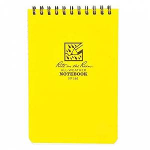 Rite in the Rain Waterproof Paper Pocket Notebook Top Spiral Bound 4 x 6 Inch Cover Yellow Polydura 19 Gauge 100 Pages 50 Sheets Wire-o Binding Imperial & Metric Rulers Covnersaion table & Map Scale