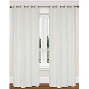 LJ Home Fashions Readymade Branch/Nature Inspired Design 132x241cm (52x95-in) Delta Ring Top/Eyelet Curtain Pair, Cream Ivory, 100-percent polyester. 0.2 x 132 x 241 cm