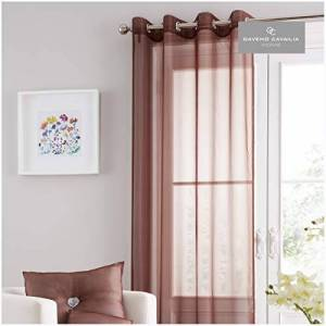 """Gaveno Cavailia Eyelet Swiss Voile Door Curtain Chocolate, 100% Polyester Ring Top Drapery, 1 Glamorous Fancy Fully Lined 55""""x86"""" Panel, Easy Care Window Treatment, (140x219 cm)"""