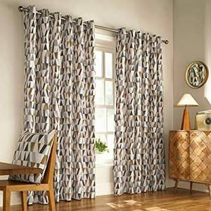 """Furn Reno Ringtop Eyelet Curtains (Pair) -Ready Made-Polycotton-Charcoal/Gold-229cm x 183cm, Cotton, Charcoal/Gold, 229 x 183cm (90"""" x 72"""" inches)"""