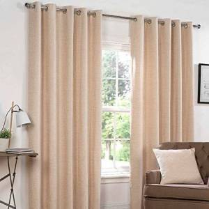 Rapport Chenille Eyelet Lined Curtains, Beige, 46x72 inches