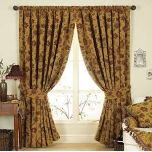 "Paoletti Zurich Pencil Pleat Curtains (Pair) - Gold Yellow - Floral Jacquard Design - Matching Tiebacks - Room Darkening - 100% Polyester - 168cm width x 229cm drop (66"" x 90"" inches)"