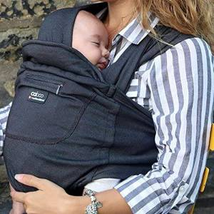 157980 Close Caboo Multi-award Winning Cotton Blend Carrier Sleepy Wrap Baby Carrier Multiple Hands Free Front Positions from Newborns to 32lbs Multi Positional Baby Carrier, Phantom