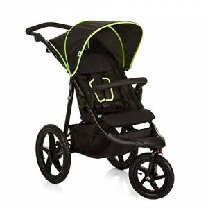 H-27406-En-000-000 Hauck Runner, Jogger Style, 3-Wheeler, Pushchair with Extra Large Air Wheels, Foldable Buggy, for Children from Birth to 25kg, Lying Position - Black Neon Yellow