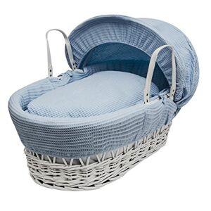 Bluewaffwhitewick Kinder Valley Blue Waffle, White Wicker Moses Basket