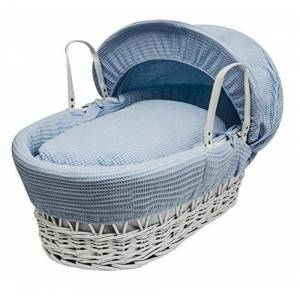 Bluewaffwhitewick Kinder Valley Blue Waffle, White Wicker Moses Basket